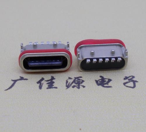 防水卧式type-c6p充电母座